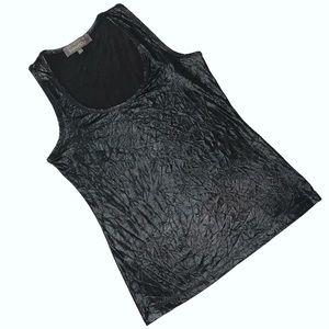 CHARLOTTE TARANTOLA Crinkle Tank Top, Black, Large